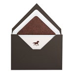 Engraved Note Pochette Brown Horse