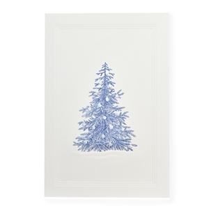 Blue Fir Tree w/Silver Ornaments Card