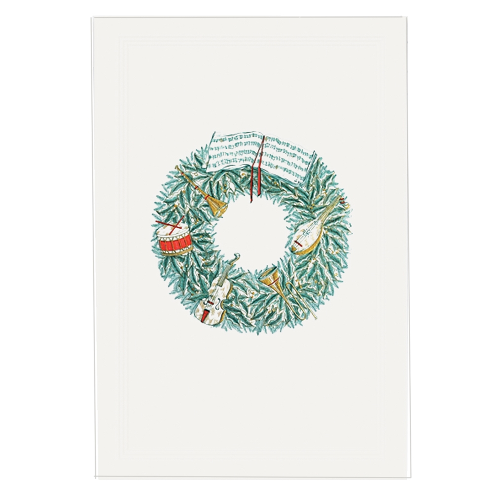 Original Crown Mill Stationery - Musical Wreath Christmas Card ...