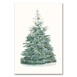 Natural Fir Tree with Gold Ornaments Card