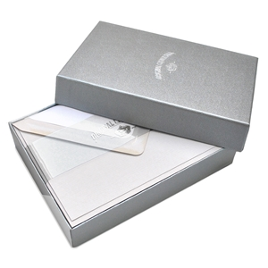 Classic Plain Edge Note Card Box Original Crown Mill, Gold, Boxed, Stationery, deckled, classic. laid surface, flat cards